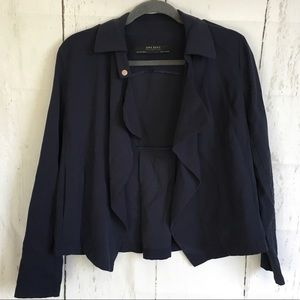 Zara Basic Collection Navy Waterfall Front Jacket